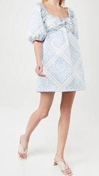 En Saison Quilted Scarf Print Dress in Blue | smocked dresses with sweetheart neckline