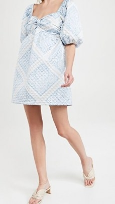 En Saison Quilted Scarf Print Dress in Blue | smocked dresses with sweetheart neckline - flipped