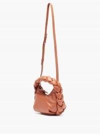 HEREU Espiga mini braided leather bag / small brown top handle bags
