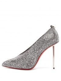 CHRISTIAN LOUBOUTIN Et Pic Et 100 high-cut crystal and leather pumps / galvanised metal heel court shoes / sparkling high cut vamp courts