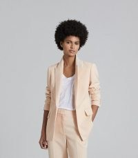 REISS EVELYN WOOL LINEN BLEND SLIM FIT BLAZER APRICOT – women's luxe summer trouser suit blazers
