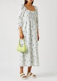 FAITHFULL THE BRAND Marita floral-print linen midi dress / white smocked bodice summer dresses