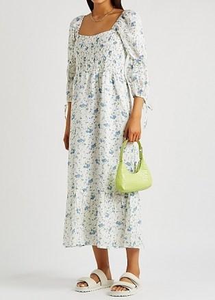 FAITHFULL THE BRAND Marita floral-print linen midi dress / white smocked bodice summer dresses - flipped