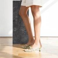 DEAR FRANCES FAN SANDAL in APPLE   light green square toe strappy sandals