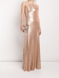 Marchesa Notte Bridesmaids Varenna sequin-embellished gown / sequinned spaghetti strap gowns in rose gold