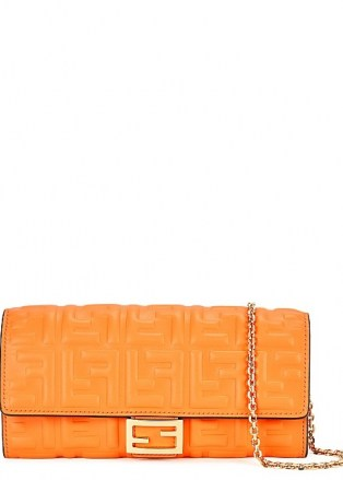 FENDI Orange logo leather wallet-on-chain / vibrant crossbody bags / bright clutch bag - flipped