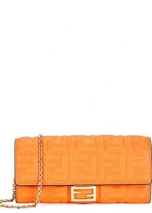 FENDI Orange logo leather wallet-on-chain / vibrant crossbody bags / bright clutch bag