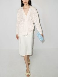 Fendi perforated FF V-neck cardigan ~ chic white logo patterned cardigans