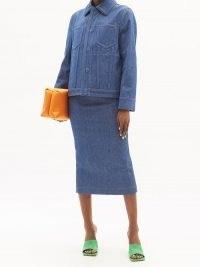 FENDI FF-embossed denim jacket ~ casual designer jackets