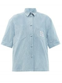 FENDI FF-embroidered cotton-chambray shirt ~ women's relaxed fit lightweight denim shirts