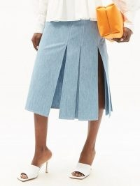 FENDI FF-embroidered cotton-chambray skirt ~ side split skirts ~ lightweight-denim
