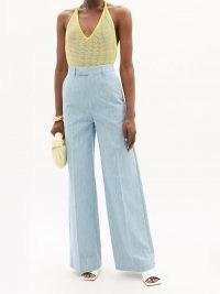 FENDI FF-embroidered cotton-chambray wide-leg jeans ~ light blue vintage style denim ~ 70s retro fashion