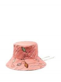 LOEWE PAULA'S IBIZA Fisherman seashell-print twill hat in pink / printed bucket hats