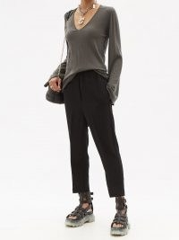 RICK OWENS Flared-sleeve V-neck wool top in grey