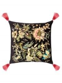 HOUSE OF HACKNEY Flora Fantasia large cotton-velvet cushion in black ~ tasseled cushions ~ luxury soft furnishings
