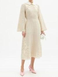 FENDI Floral-appliqué linen midi dress