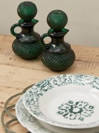 CABANA MAGAZINE Galeano glass oil and vinegar bottle set ~ green tableware ~ vintage style condiment sets ~ dining table glassware