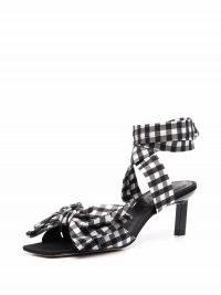 GANNI bow-detail seersucker sandals – check print ankle-tie square toe sandal