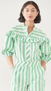 GANNI Stripe Cotton Shirt Kelly Green