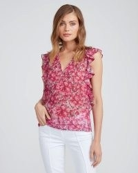 PAIGE Genie Top Chateau Rose ~ pink floral flutter sleeve tops