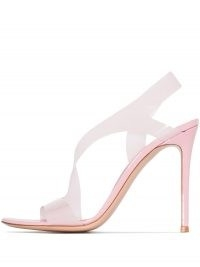 Kylie Jenner pink slingback high heels, Gianvito Rossi Metropolis 115mm sandals, on Instagram, 4 May 2021 | celebrity social media fashion