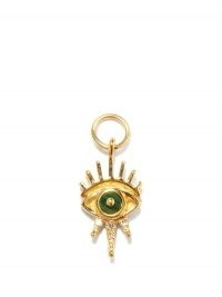 JACQUIE AICHE Gigi diamond, malachite & 14kt gold evil eye charm | charms for earrings, necklaces, bracelets and anklets