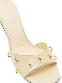 Givenchy 45mm leather studded gold ring mules – croc embossed kitten heels