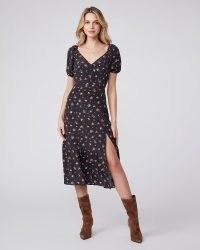 PAIDE Gjelina Dress | black floral dresses with high split hem