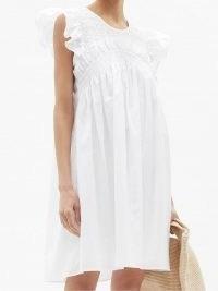 SEA Gladys hand-smocked cotton-poplin dress   classic white summer dresses