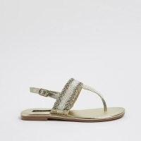 River Island Gold bead toe thong sandals | beaded slingback flats