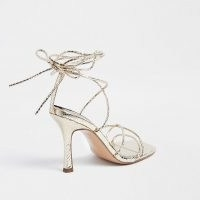 RIVER ISLAND Gold embossed square toe tie up sandal ~ strappy metallic party sandals