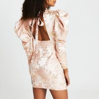 RIVER ISLAND Gold floral print puff sleeve open back dress ~ 80s style going out dresses ~ glamorous party fashion