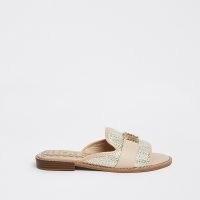 River Island Gold open toe loafers | low heel peep toe mule