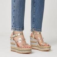 River Island Gold perspex gem wedges | embellished high wedge heels