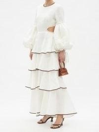 AJE Gracious cutout tiered linen-blend dress ~ romantic summer occasion dresses
