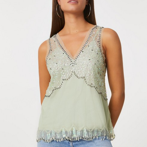 RIVER ISLAND Green embellished vest ~ sheer overlay sequinned tops - flipped