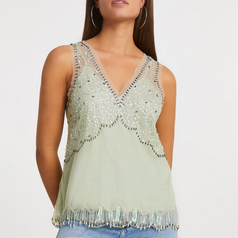 RIVER ISLAND Green embellished vest ~ sheer overlay sequinned tops