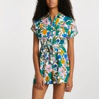 RIVER ISLAND Green floral printed utility playsuit ~ short sleeve summer playsuits