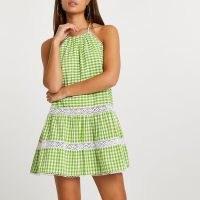 RIVER ISLAND Green tiered halter mini swing dress ~ checked halter dresses