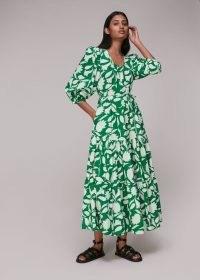 Whistles MARNI PRINT TRAPEZE DRESS – green printed tier hem dresses