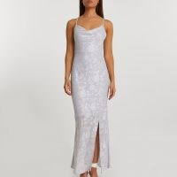 Grey foil jacquard cowl neckcami dress