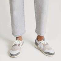 RIVER ISLAND Grey monogram print pull on runner trainers