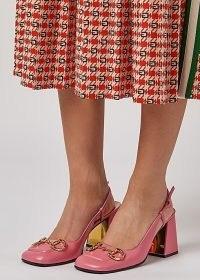GUCCI 75 pink leather slingback pumps / retro bubblegum chunky heel slingbacks
