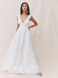 Reformation Hampton Dress | plunge front smocked waist bridal dresses | romantic wedding gowns