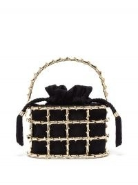 ROSANTICA Holli Jungla crystal-embellished cage handbag | small luxe caged bags