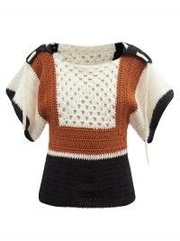 Retro knitwear   BATSHEVA Hooded crochet short-sleeve sweater   Vintage style sweaters