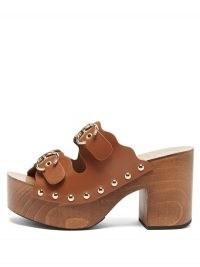 CHLOÉ Ingrid buckled-strap leather clogs ~ brown 70s style platform sandals ~ vintage look chunky platforms ~ retro footwear
