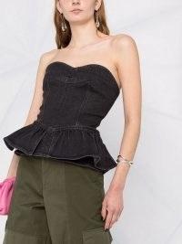 Isabel Marant Dolizina strapless peplum top | denim fitted bodice ruffle hem tops
