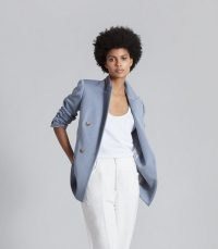 REISS JETT WOOL BLEND DOUBLE BREASTED BLAZER ~ women's chic blue blazers
