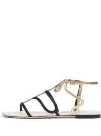 Jimmy Choo Vice colour-block flat sandals ~ strappy part metallic flats